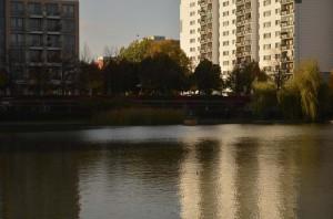 fim de tarde no Engelbecken, em Kreuzberg